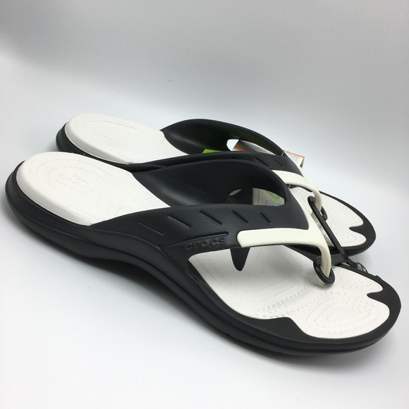 ee7f4e13dc832 Crocs Modi Sport Flip Flop Sandals Black White NWT
